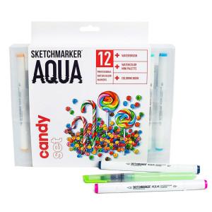 Акварельные маркеры набор SketchMarker Aqua Pro Candy, 12 цвет, SMA-12CAND