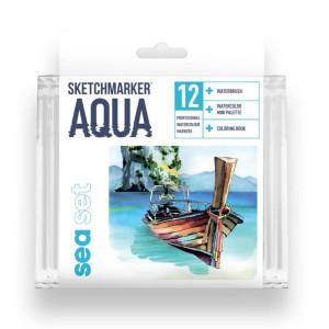 Акварельные маркеры набор SketchMarker Aqua Pro Sea, 12 цвет, SMA-12SEA
