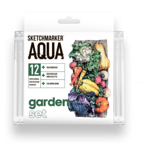 Акварельные маркеры набор SketchMarker Aqua Pro Garden, 12 цвет, SMA-12GARD