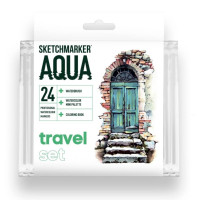 Акварельные маркеры набор SketchMarker Aqua Pro Travel, 24 цвет, SMA-24TRAV