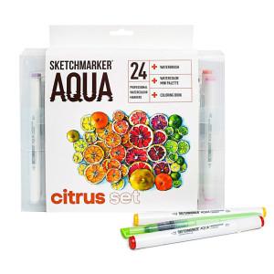 Акварельные маркеры набор SketchMarker Aqua Pro Citrus, 24 цвет, SMA-24CITR