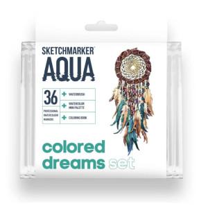 Акварельные маркеры набор SketchMarker Aqua Pro Colored Dreams, 36 цвет, SMA-36CLDR