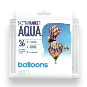 Акварельные маркеры набор SketchMarker Aqua Pro Balloons, 36 цвет, SMA-36BALL