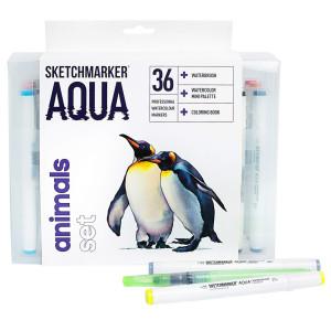 Акварельные маркеры набор SketchMarker Aqua Pro Animals, 36 цвет, SMA-36ANIM