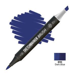 Маркер SketchMarker Brush B90 Dark Blue (Тёмный синий) SMB-B90
