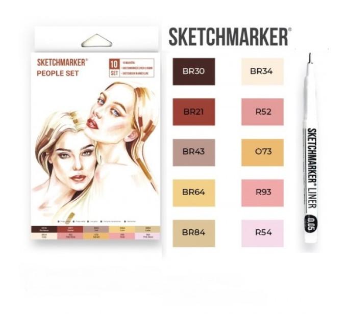 Маркеры SketchMarker People, 10 шт (линер + скетчбук), SM-10PEOPL