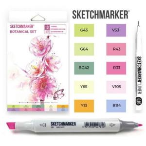 Маркеры SketchMarker Botanical, 10 шт (линер + скетчбук), SM-10BOTN