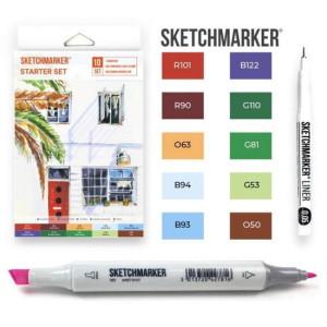 Маркеры SketchMarker Starter, 10 шт (линер + скетчбук), SM-10START
