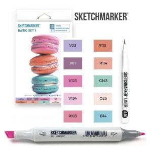 Маркеры SketchMarker Basic 1 Базовые цвета 1, 10 шт (линер + скетчбук), SM-10BAS1