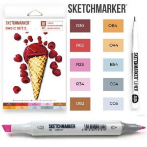 Маркеры SketchMarker Basic 2 Базовые цвета 2, 10 шт (линер + скетчбук), SM-10BAS2