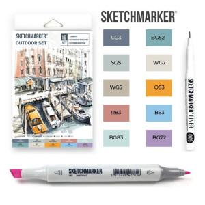 Маркеры SketchMarker Outdoor, 10 шт (линер + скетчбук), SM-10OUTD