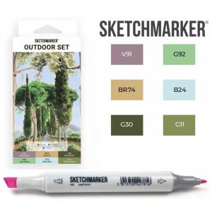 Маркеры SketchMarker набор 6 шт, Outdoor, Пленэр SM-6OUTD