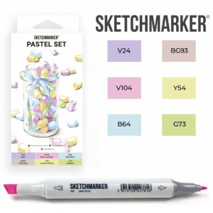 Маркеры SketchMarker набор 6 шт, Pastel, Пастельные тона SM-6PAST
