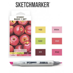 Маркеры SketchMarker набор 6 шт, Basic 1 Базовые цвета 1, SM-6BAS1