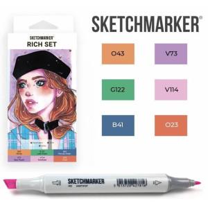 Маркеры SketchMarker набор 6 шт, Rich, Насыщенный SM-6RICH