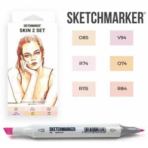 Маркеры SketchMarker набор 6 шт, Skin 2, Телесные SM-6SKIN2
