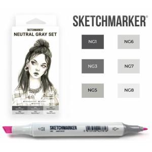 Маркеры SketchMarker набор 6 шт, Neutral Gray, Натуральные серые SM-6NTGR