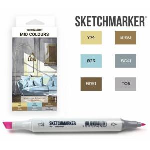 Маркеры SketchMarker набор 6 шт, Mid colours, Средние тона SM-6MID