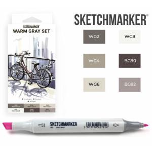 Маркеры SketchMarker набор 6 шт, Warm Gray, Мокрый серый SM-6WMGR