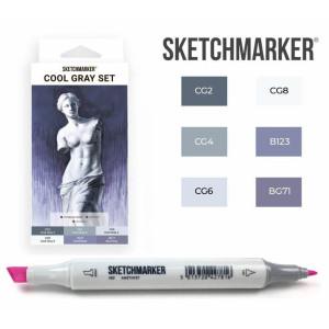 Маркеры SketchMarker набор 6 шт, Cool Gray, Оттенки Серого SM-6CGR