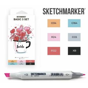 Маркеры SketchMarker набор 6 шт, Basic 3 Базовые цвета 3, SM-6BAS3