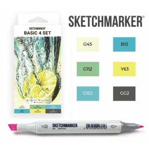 Маркеры SketchMarker набор 6 шт, Basic 4 Базовые цвета 4, SM-6BAS4