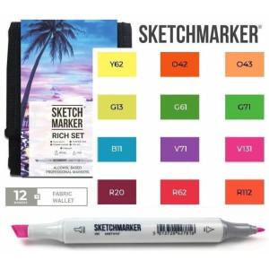 Маркеры SketchMarker набор 12 шт Rich, Насыщенный, SM-12RICH