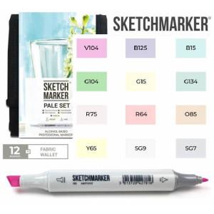 Маркеры SketchMarker набор 12 шт Pale, Бледные тона, SM-12PALE