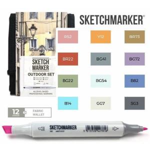 Маркеры SketchMarker набор 12 шт Outdoor, Пленэр, SM-12OUTD