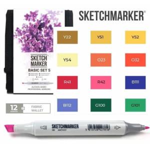 Маркеры SketchMarker набор 12 шт Basic 5 Базовые цвета 5, SM-12BAS5