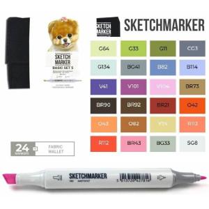 Маркеры SketchMarker набор 24 шт Basic 5 Базовые цвета 5 SM-24BAS5