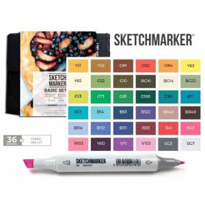 Маркеры SketchMarker набор 36 шт Basic 3 Базовые цвета 3, SM-36BAS3
