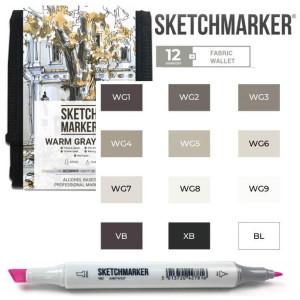 Маркеры SketchMarker набор 12 шт Warm Grey, Мокрый серый, SM-12WMGR