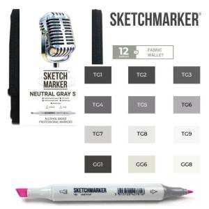 Маркеры SketchMarker набор 12 шт Neutral Grey, Натуральные серые, SM-12NTGR