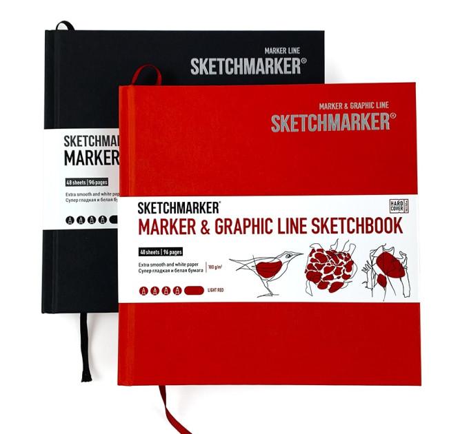 Скетчбук SketchMarker Marker & Graphic 163х163 мм 48 л 180 г, твердый переплет Угля, MGLHSQ / CHARC
