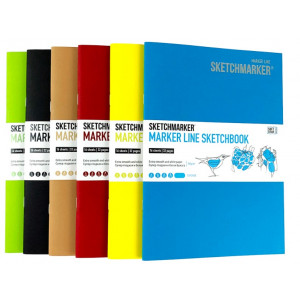 Скетчбук SketchMarker В5 16 л 160 г, мягкий переплет, Голубой, MLSM / TURC