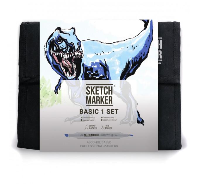 Маркеры Sketchmarker в наборе Basic 1 set 36 - Базовые оттенки сет 1- 36 маркеров + сумка органайзер - арт-36bas1
