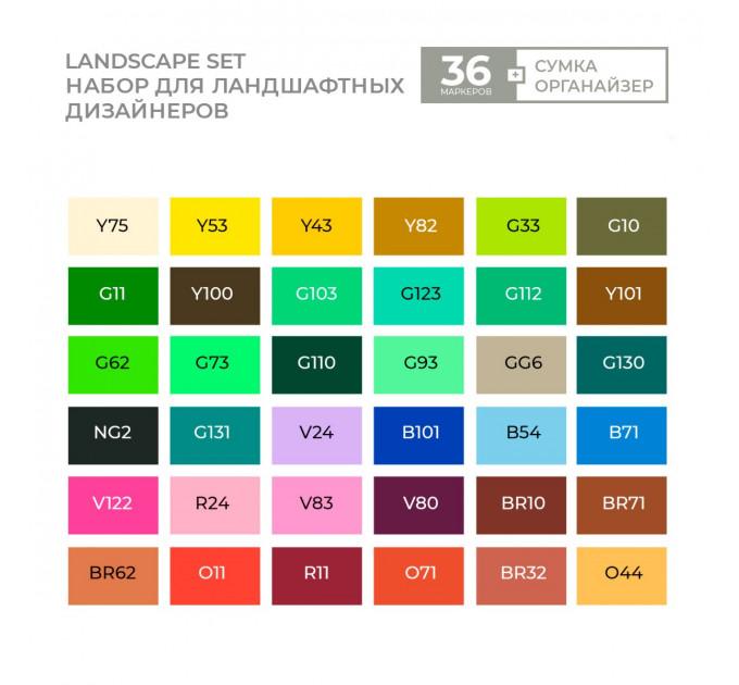 Маркеры Sketchmarker в наборе Landscape 36 set - Ландшафт - 36 маркеров + сумка органайзер - арт-36land