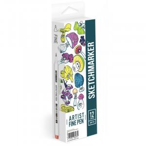 Набор Лайнеров SketchMarker ARTIST Fine Pen Basic 4, 12 цв AFP-12BAS4