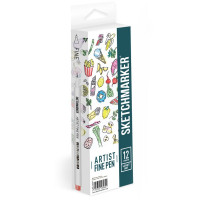 Набор Лайнеров SketchMarker ARTIST Fine Pen Light, 12 цв AFP-12LGHT