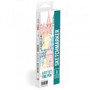 Набор Лайнеров SketchMarker ARTIST Fine Pen Basic 4, 6 цв AFP-6BAS4