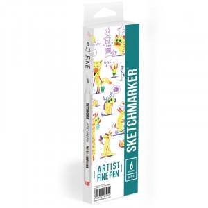 Набор Лайнеров SketchMarker ARTIST Fine Pen Basic 5, 6 цв AFP-6BAS5