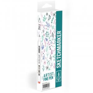 Набор Лайнеров SketchMarker ARTIST Fine Pen Dark, 6 цв AFP-6DARK