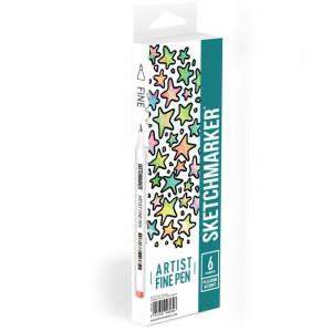 Набор Лайнеров SketchMarker ARTIST Fine Pen Fluorescent, 6 цв AFP-6FL