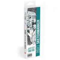 Набор Лайнеров SketchMarker ARTIST Fine Pen Gray, 6 цв AFP-6GRAY
