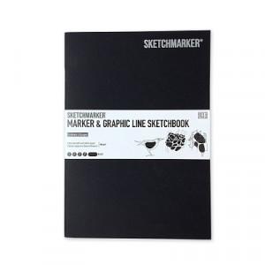 Скетчбук SketchMarker В5 16 листов, 180 г, высшего черный, MGLSM / EXBL