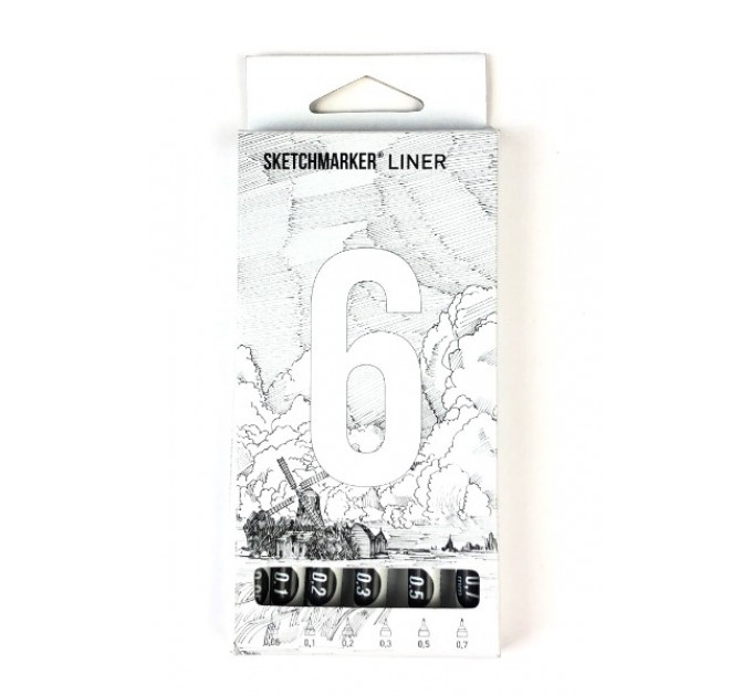 Лайнеры набор Sketchmarker Liner 6 set (0.05, 0.1, 0.2, 0.3, 0.5, 0.7 mm) - SML-6SET