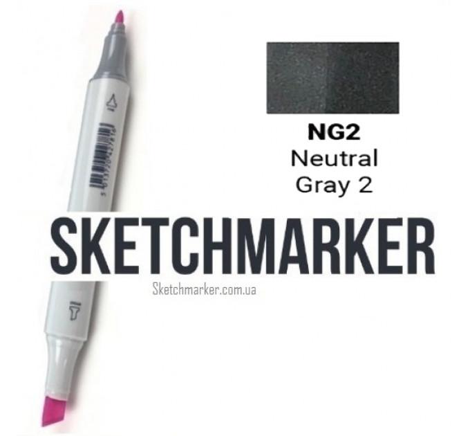 Маркер Sketchmarker Поштучно SKETCHMARKER (2 пера: долото і тонке, 389 відтінки) #4a504f, Цвет: Neutral Gray 2 (Нейтральный серый 2), SM-NG02