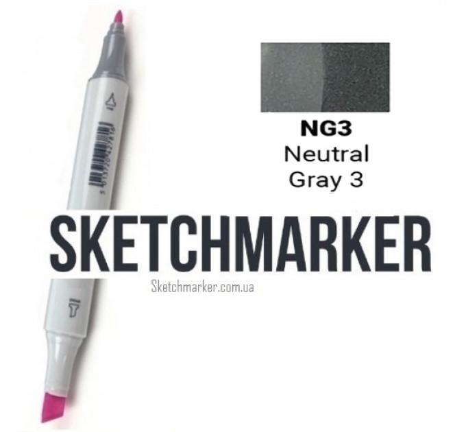 Маркер Sketchmarker Поштучно SKETCHMARKER (2 пера: долото і тонке, 389 відтінки) #696e6c, Цвет: Neutral Gray 3 (Нейтральный серый 3), SM-NG03